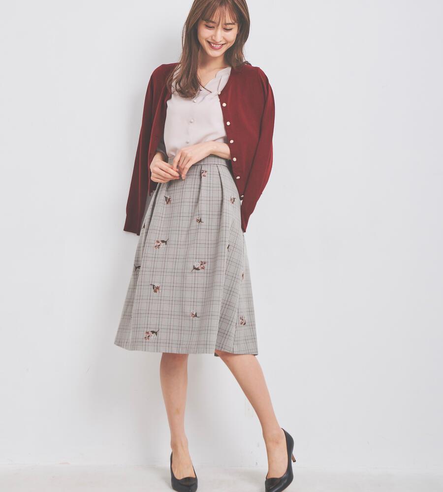 グレンチェック刺繍スカート