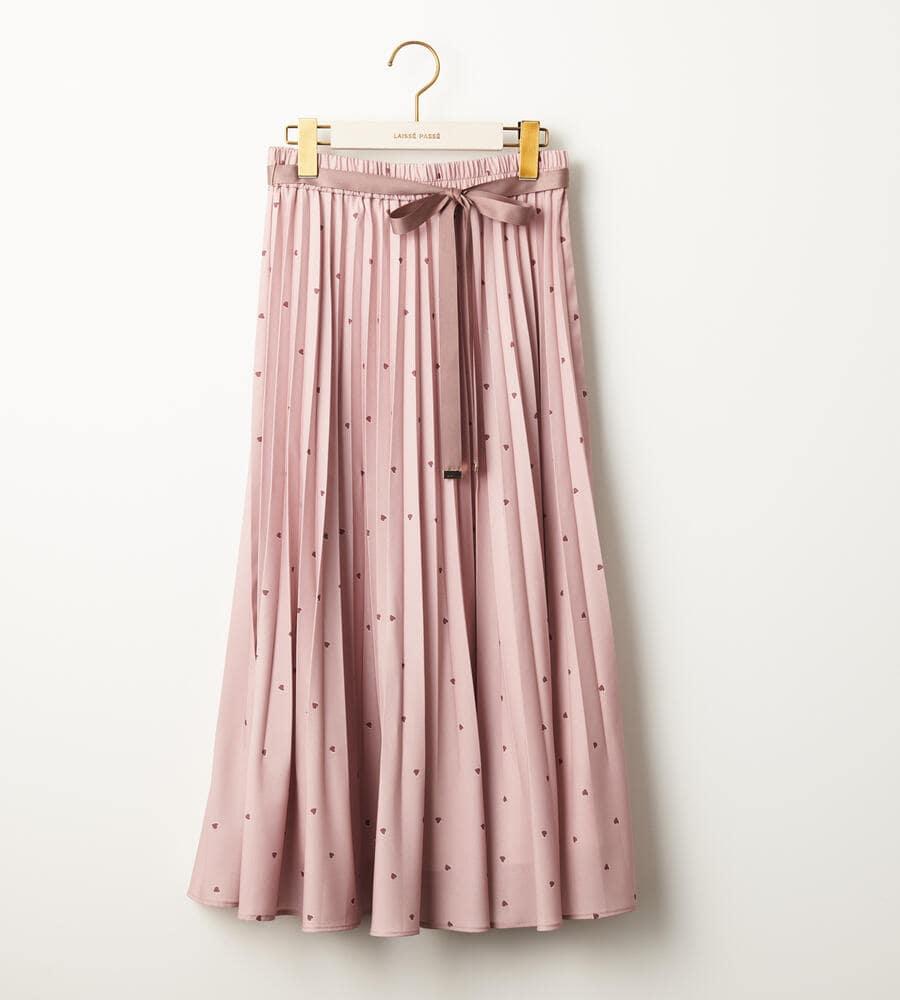 ハートプリントプリーツスカート