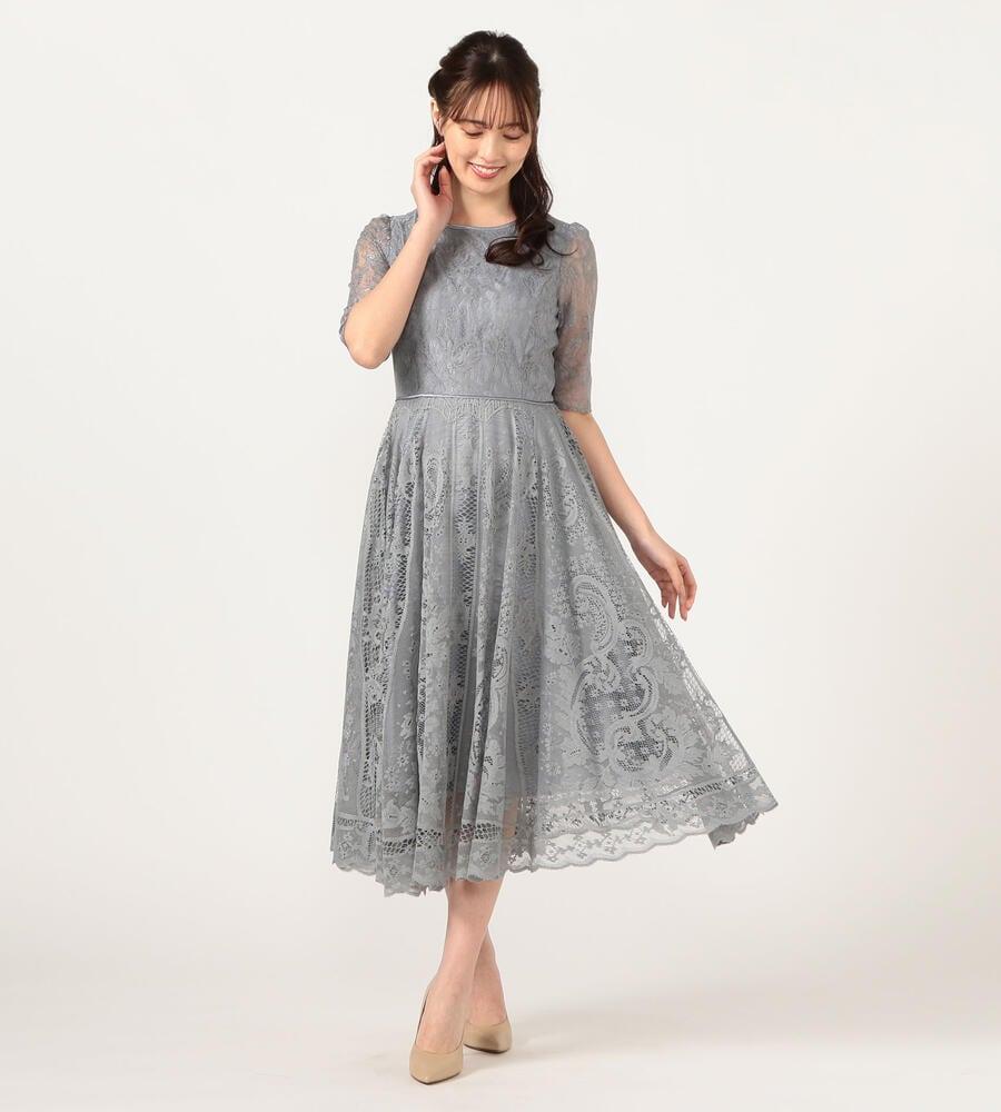 パネルレースロングドレス