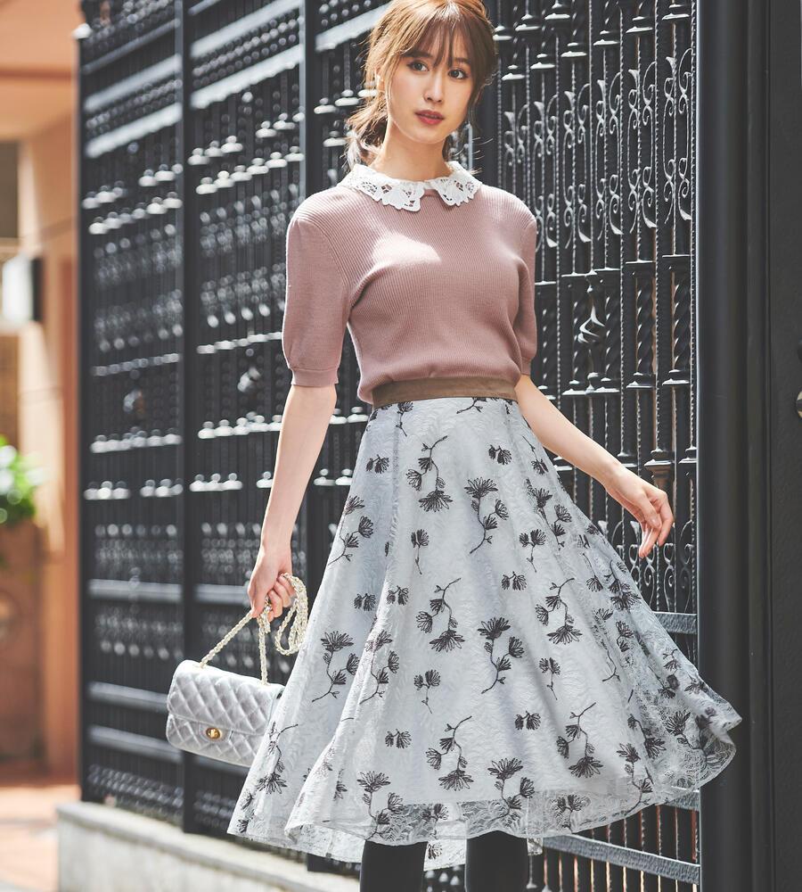 レース刺繍ミディスカート