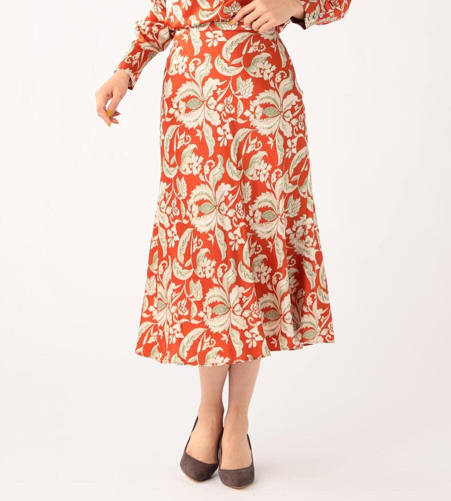 ビンダフローラルサテンスカート